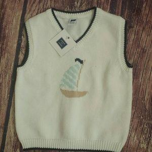 Janie & Jack sweater vest sailboat 18-24M NWT